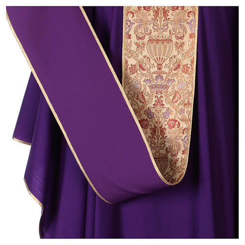Catholic Priest Chasuble in pure wool with lampas gallon and neckline 5