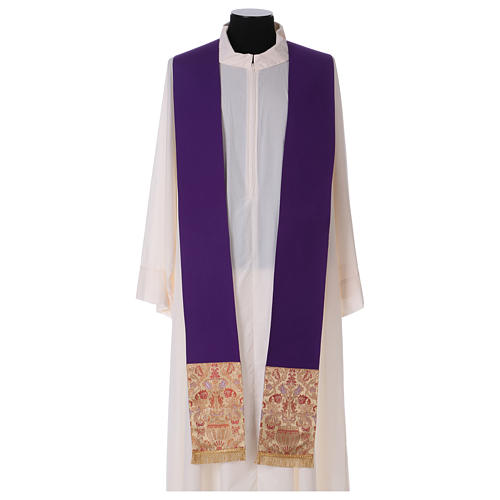 Catholic Priest Chasuble in pure wool with lampas gallon and neckline 6