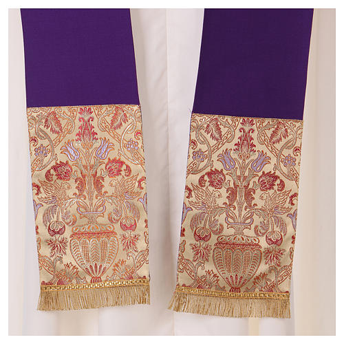 Catholic Priest Chasuble in pure wool with lampas gallon and neckline 7