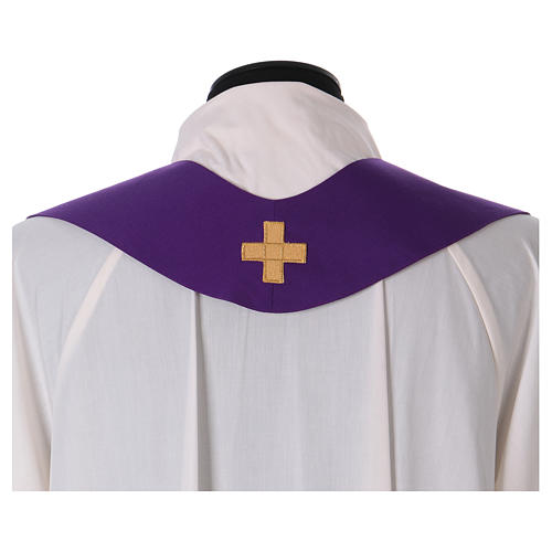 Catholic Priest Chasuble in pure wool with lampas gallon and neckline 8