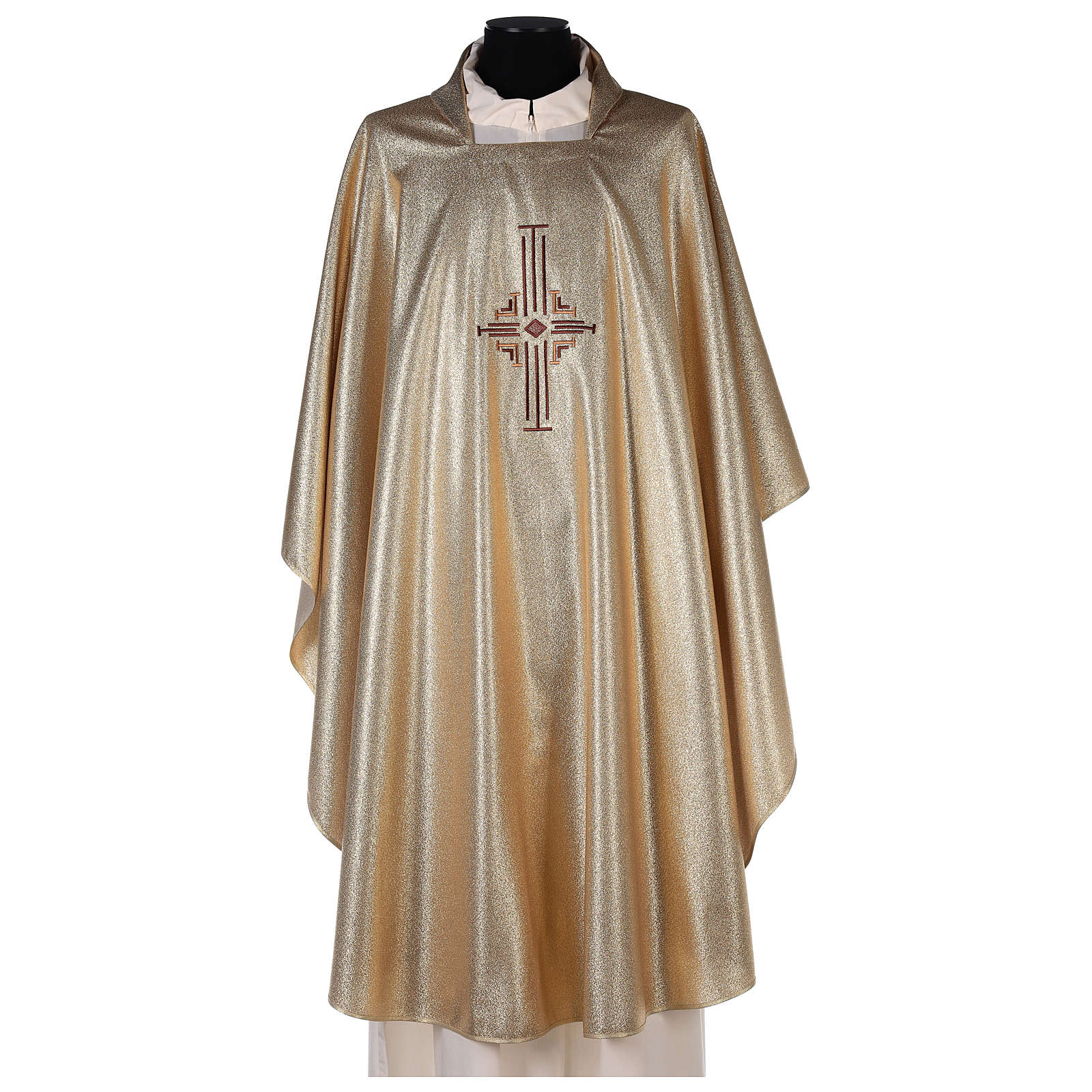 Chasuble in polyester with machine-embroidered cross on the front, gold 4