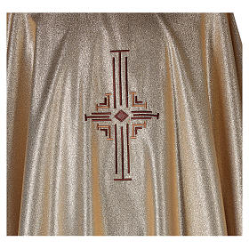Chasuble in polyester with machine-embroidered cross on the front, gold s2