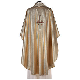 Chasuble in polyester with machine-embroidered cross on the front, gold s4