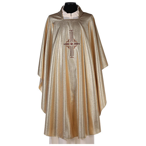 Chasuble in polyester with machine-embroidered cross on the front, gold 1