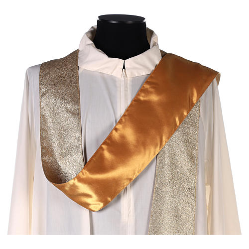 Chasuble in polyester with machine-embroidered cross on the front, gold 6