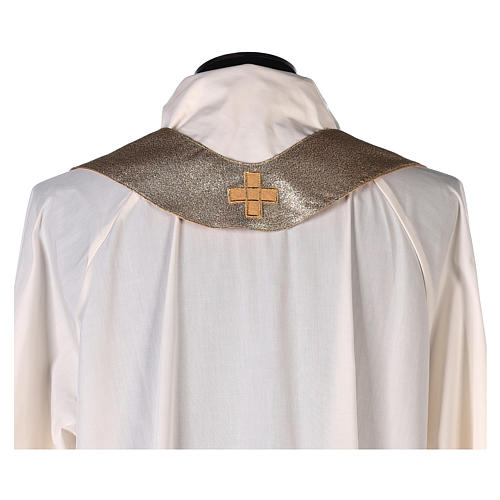 Chasuble in polyester with machine-embroidered cross on the front, gold 7