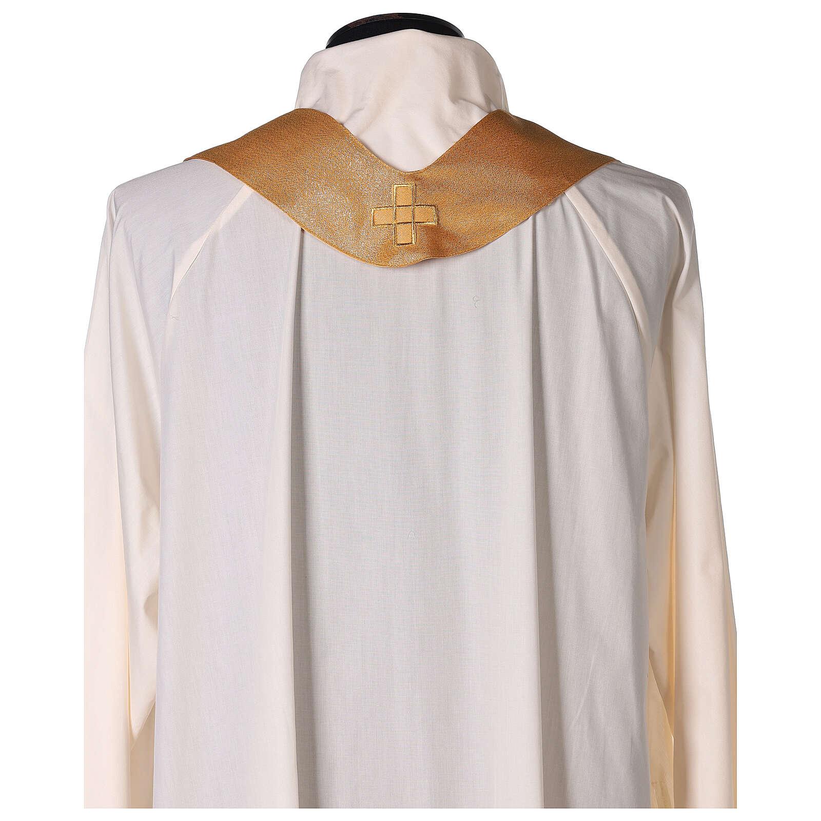 Ornat z poliestru złoty z haftem krzyża maszynowym na płaszczu 4