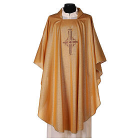 Gold Latin Chasuble in polyester with machine-embroidered cross on the front s1