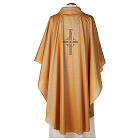 Gold Latin Chasuble in polyester with machine-embroidered cross on the front s4