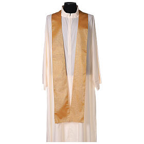 Gold Latin Chasuble in polyester with machine-embroidered cross on the front s5