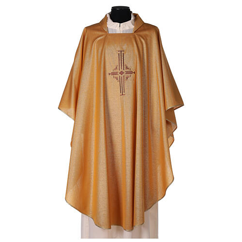 Gold Latin Chasuble in polyester with machine-embroidered cross on the front 1