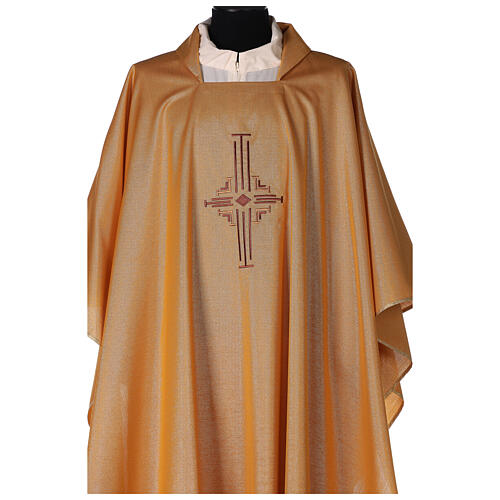 Gold Latin Chasuble in polyester with machine-embroidered cross on the front 2