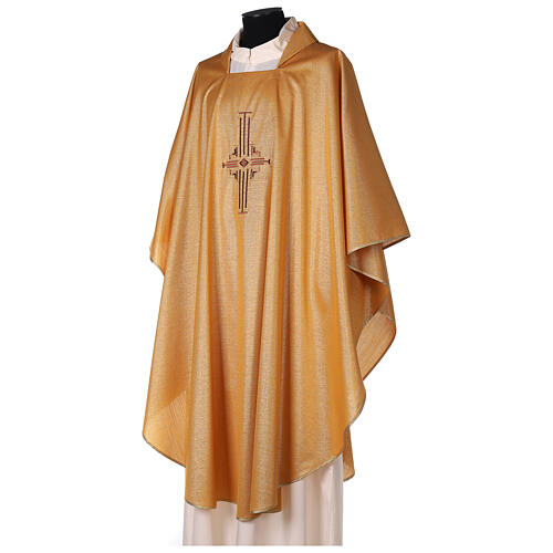 Gold Latin Chasuble in polyester with machine-embroidered cross on the front 3