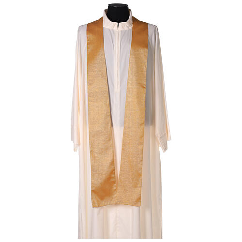 Gold Latin Chasuble in polyester with machine-embroidered cross on the front 5