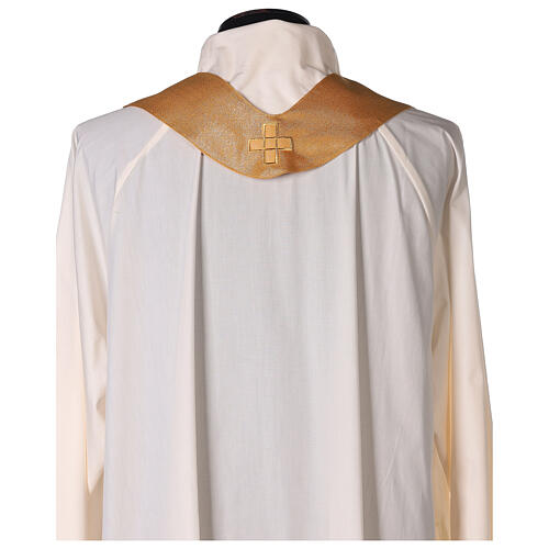 Gold Latin Chasuble in polyester with machine-embroidered cross on the front 6
