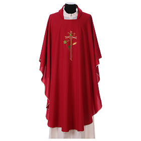 Chasuble in polyester with machine-embroidered cross s1