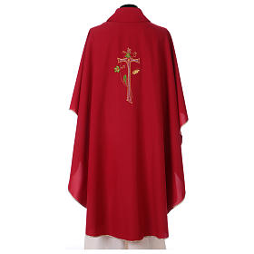 Chasuble in polyester with machine-embroidered cross s3