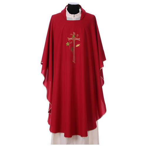 Chasuble in polyester with machine-embroidered cross 1