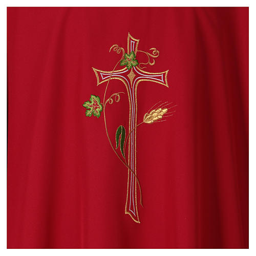 Chasuble in polyester with machine-embroidered cross 2