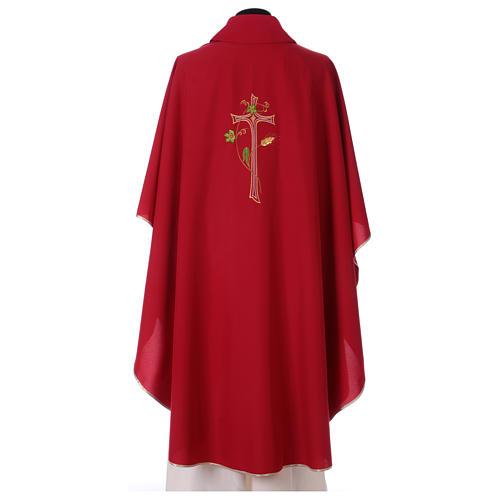 Chasuble in polyester with machine-embroidered cross 3
