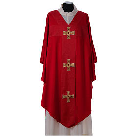 Chasuble and stole with cross and stones 100% polyester s4
