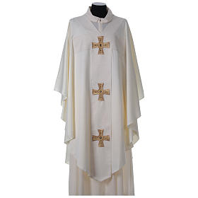 Chasuble and stole with cross and stones 100% polyester s5