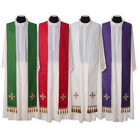 Chasuble and stole with cross and stones 100% polyester s7