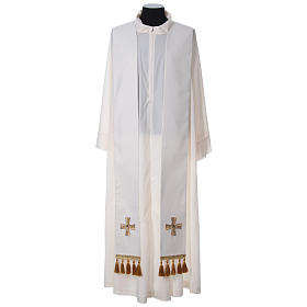 Chasuble and stole with cross and stones 100% polyester s10