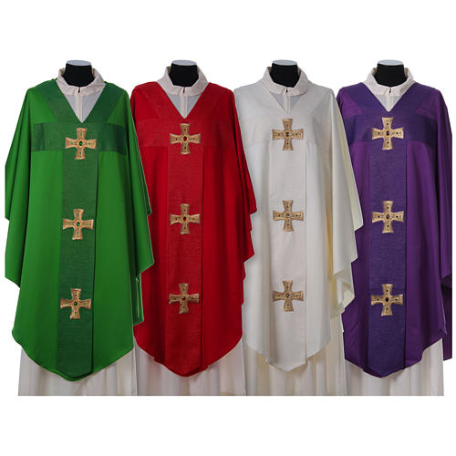 Chasuble and stole with cross and stones 100% polyester 1