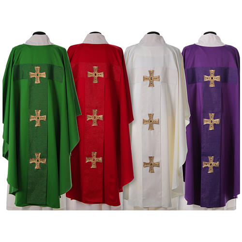 Chasuble and stole with cross and stones 100% polyester 2