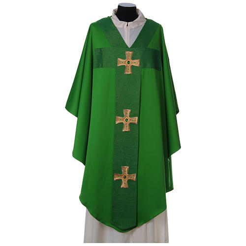 Chasuble and stole with cross and stones 100% polyester 3