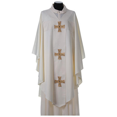 Chasuble and stole with cross and stones 100% polyester 5