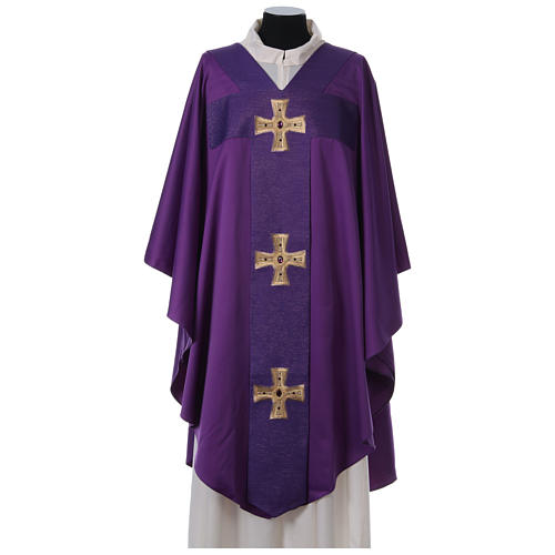 Chasuble and stole with cross and stones 100% polyester 6
