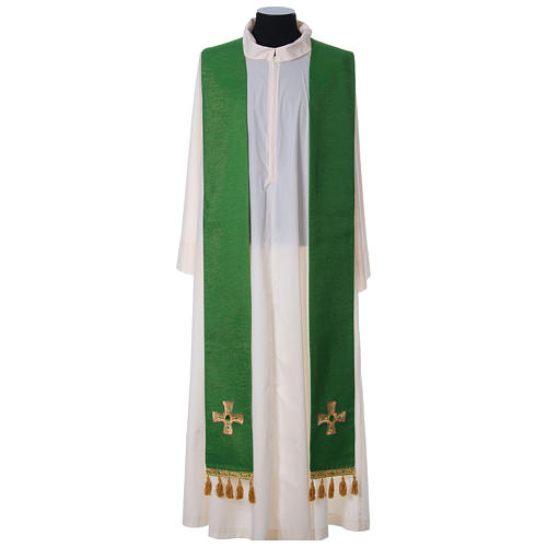 Chasuble and stole with cross and stones 100% polyester 8