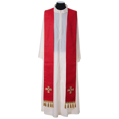 Chasuble and stole with cross and stones 100% polyester 9