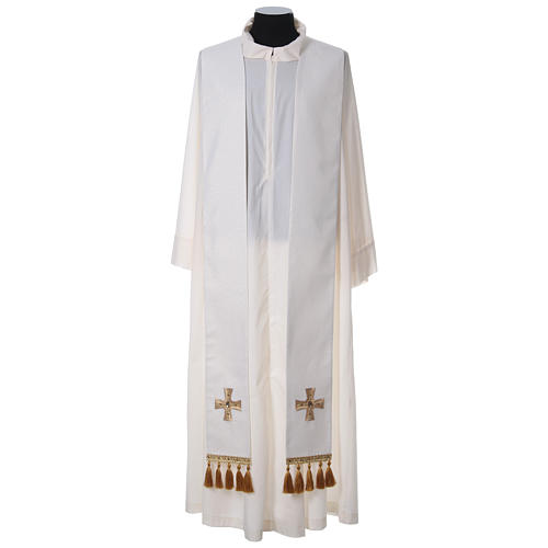 Chasuble and stole with cross and stones 100% polyester 10