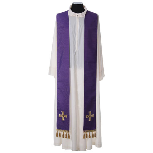 Chasuble and stole with cross and stones 100% polyester 11