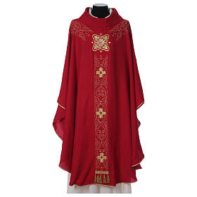 Chasuble and stole with embroidery, Italian neckline s1