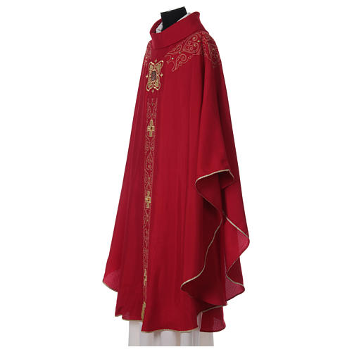 Chasuble and stole with embroidery, Italian neckline 3