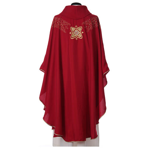 Chasuble and stole with embroidery, Italian neckline 5