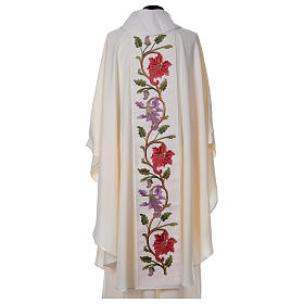 Chasuble and stole with IHS and flower embroidery s3