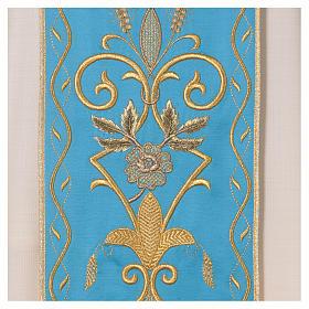 STOCK Chasuble ivoire en pure laine avec bande centrale bleu ciel brodée à la machine s2