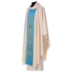 STOCK Chasuble ivoire en pure laine avec bande centrale bleu ciel brodée à la machine s3