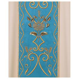 STOCK Chasuble ivoire en pure laine avec bande centrale bleu ciel brodée à la machine s4