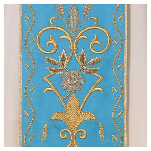 STOCK Chasuble ivoire en pure laine avec bande centrale bleu ciel brodée à la machine 2