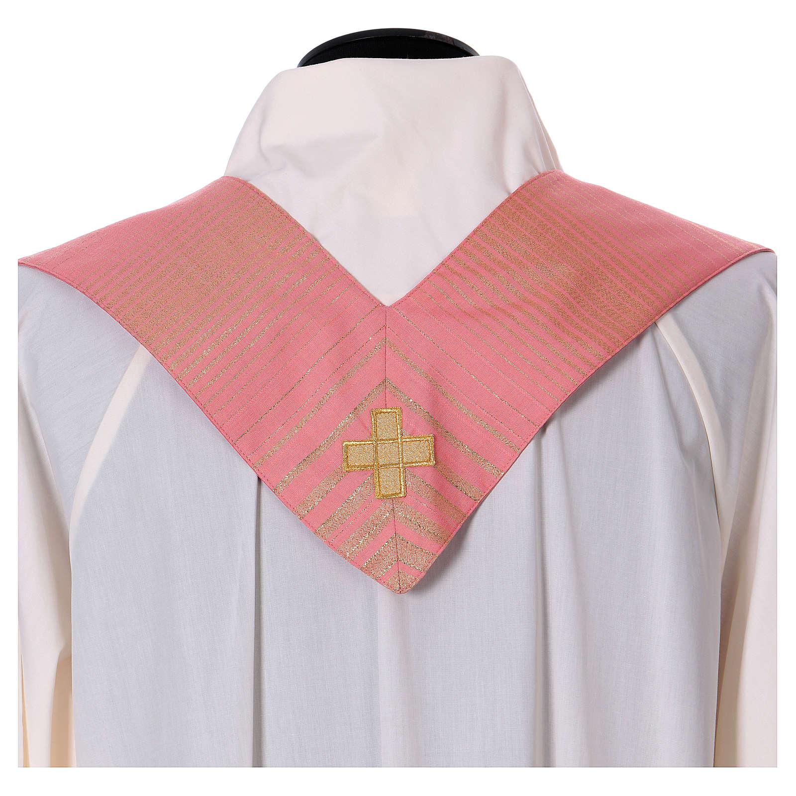 Casula rosa rigata in lana lurex 4