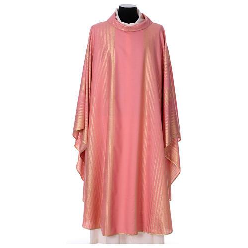 Casula rosa rigata in lana lurex 1