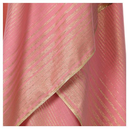 Casula rosa rigata in lana lurex 2