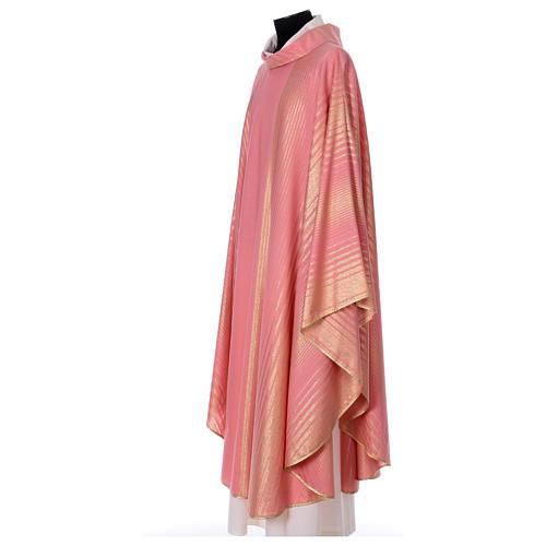 Casula rosa rigata in lana lurex 3