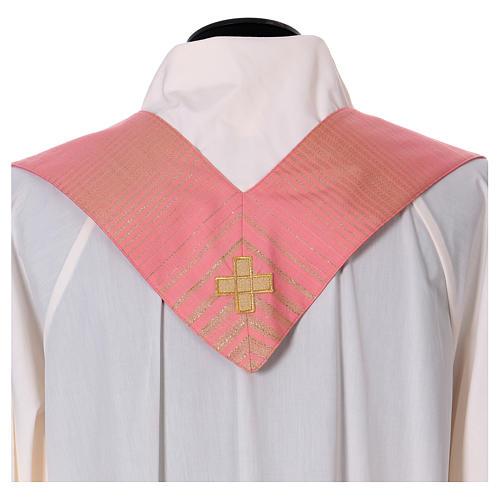 Casula rosa rigata in lana lurex 8